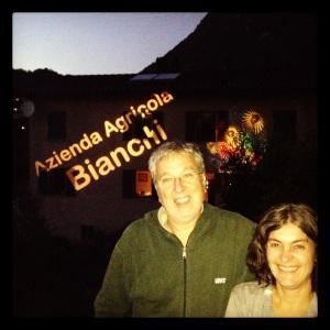 Alberto e Marcy Bianchi a casa prima della presentazione dello spumante